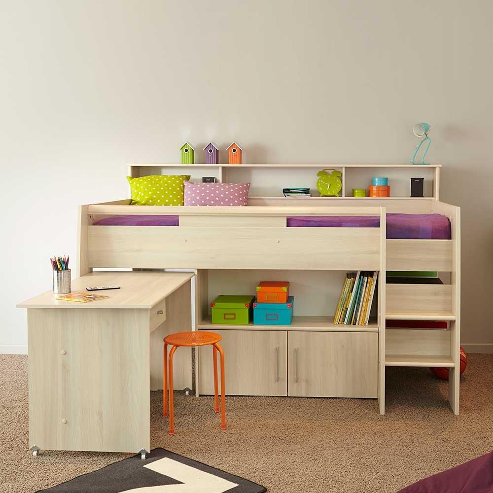Kinderbett mit Stauraum und Schreibtisch Akazie Pharao24