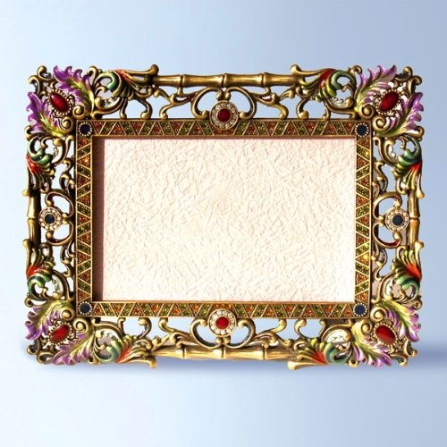Ornate Baroque Bamboo Large Swarovski Crystals Photo Frame 4 x 6 inch Picture Purple Red Green Blue