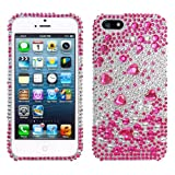 Lumii Ark 3D Bling Crystal Design Case for Apple iPhone 5 / 5S - (Hot Pink/Silver Flower)