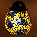 EarthenMetal Handcrafted Multicoloured Tuffen Glass Decorated Glass Hanging Candle Light