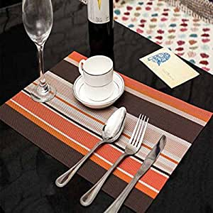 Acehg rectangle pvc dining room placemats for table heat insulation stain resistant - Dining room table mats ...