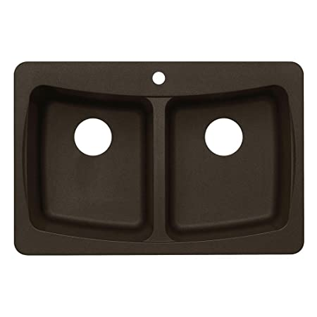 Pegasus AL20MC Granite Double Bowl Kitchen Sink, Metallic Chocolate