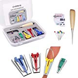 Yotako Single/Double Fold Bias Tape Maker Tool Kit Set, 6MM/9MM/12MM/18MM/25MM Fabric Bias Tape Maker Tools 1/4 to 1 Inch Sewing Bias Tape Makers for Quilt Binding