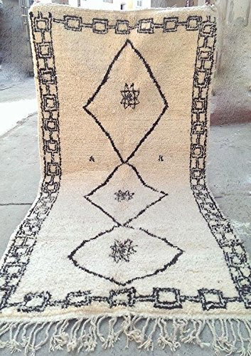 Beni Ourain Handmade Moroccan Rug 100% Wool Rug Carpet 102 X 49 Inches