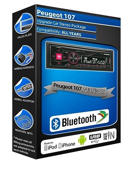 Peugeot 107 autoradio Alpine UTE 72BT mains-libres Bluetooth pour autoradio stéréo