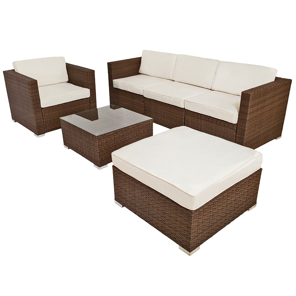 tectake hochwertige luxus lounge poly rattan sitzgruppe sofa rattanm bel gartenm bel braun. Black Bedroom Furniture Sets. Home Design Ideas