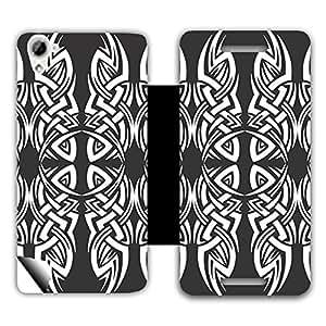 Skintice Designer Flip Cover with a hi-res printed Vinyl Wrap-around for HTC Desire 826 , Design - Tribal