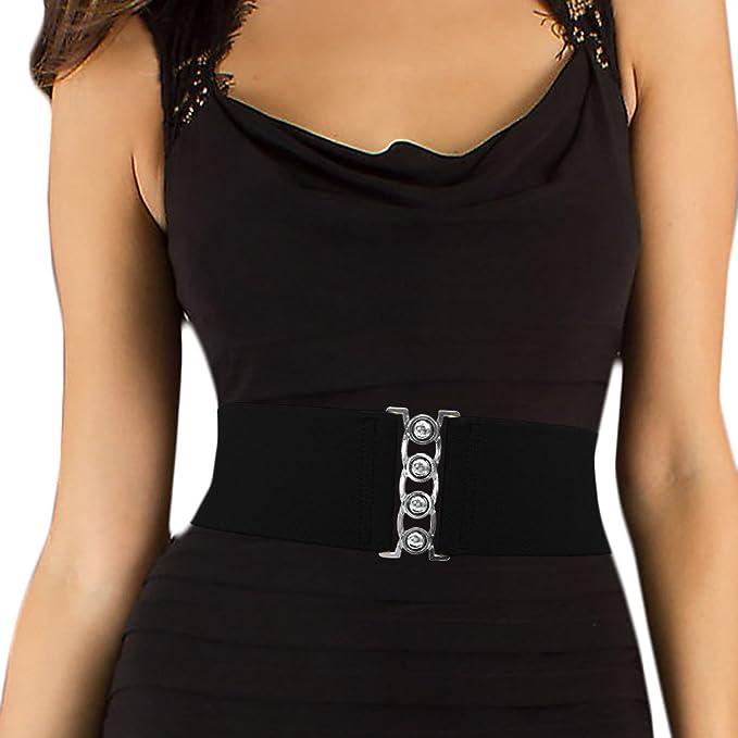 LUNA Fashion 3-inch Wide Elastic Cinch Belt - Black