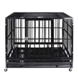 Heavy Duty Pet Dog Cage Strong Metal Crate Kennel Playpen w/Wheels&Tray (37'' Black) (Color: Black, Tamaño: 37)