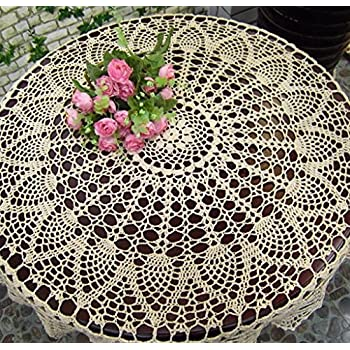 New Beige 36 Round Handmade Crochet Sunflower Lace Table Cloth Doily N06