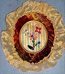 Victorian Opulence with 18 Vintage Swarovski Crystals in an Antique Dyed Crushed Velvet Oval Frame with Scalloped Gold Organza. One of a Kind!