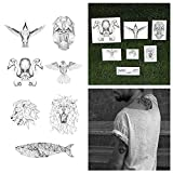 Tattify Animal Temporary Tattoos - Nature Calls (Set of 14 Tattoos - 2 of each Style) - Individual Style Available - Fashionable Temporary Tattoos (Color: A Nature Calls Set)