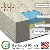 "Hot Sale Brentwood 10"" Gel Infused HD Memory Foam Mattress - 100% Made in USA - CertiPur Foam - 25-Year Warranty, Triple Layer, Natural Bamboo Cover, Twin Size"