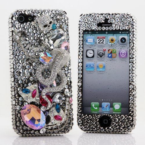 Great Price BlingAngels® 3D Luxury Bling iphone 5 5s Case Cover Faceplate Swarovski Crystals Diamond Sparkle bedazzled jeweled Design Front & Back Snap-on Hard Case + FREE Premium Quality Stylus and Water-Resistant Bag (100% Handcrafted by BlingAngels) (Silver Skull and Cobra Design)
