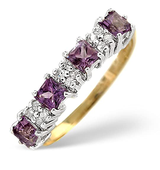 TheDiamondStore | Eternity Ring - Amethyst & Diamond - 9K Gold