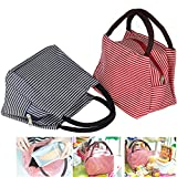 Lunch Bags, Danibos Large Solid Useful Linen Cotton Stripe 2pc Fashion Lunch Tote Bag Insulated Lunch Bag Grocery Bags with Zipper (Red&blue)