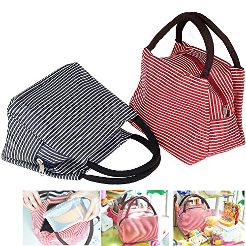 Lunch Bags, Danibos Solid Useful Linen Cotton Stripe 2pc Fashion Lunch Tote Bag Lunch Bag Grocery Bags with Zipper (Red&blue) - 1