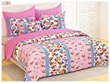 Bedspun Elegant Look 120 TC 100% Cotton Floral Print Pattern Bedsheets, Double Bedsheets With 2 Pillow Cover - Pink