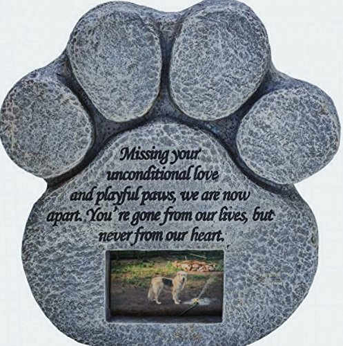 Paw Print Pet Memorial Stone -- Features a Photo Frame and Sympathy Poem - Indoor Outdoor Dog or Cat For Garden Backyard Marker Grave Tombstone - Loss of Pet Gift (Dog Picture Frame Memorial compare prices)
