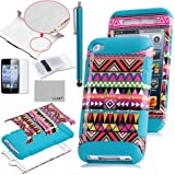 Pandamimi ULAK 3-Piece Hybrid High Impact Case Tribal pattern Blue Silicone For Apple iPod Touch Generation 4 with Free Stylus