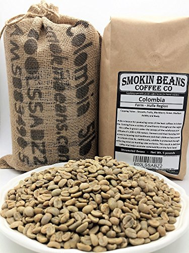 5 LBS - COLOMBIA IN A BURLAP BAG - Farm: Huila Region, Washed Sundried, Smooth, Fruity, Blackberry Finish - Specialty-Grade Green Unroasted Whole Coffee Beans, for Home Coffee Roaster, by SMOKINBEANS (Whole Bean Coffee Unroasted compare prices)