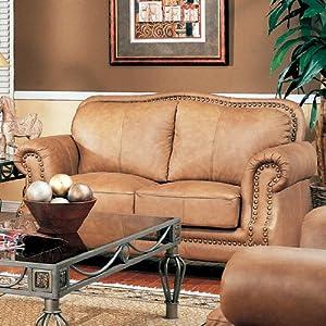 Savannah Caramel Color 100 Genuine Leather Sofa Love Seat W Nail Head