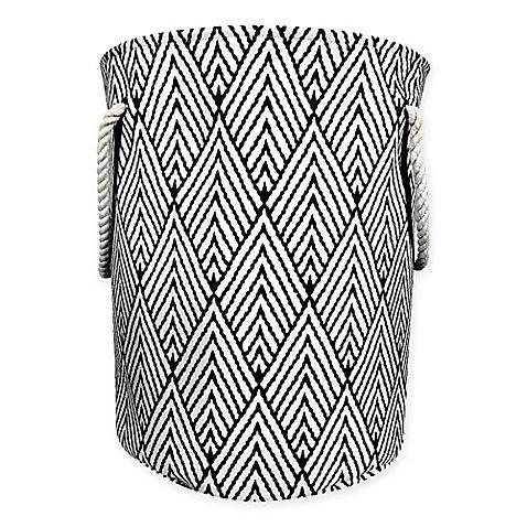 Canvas Fabric Hamper in Black/White (White Corner Laundry Basket compare prices)