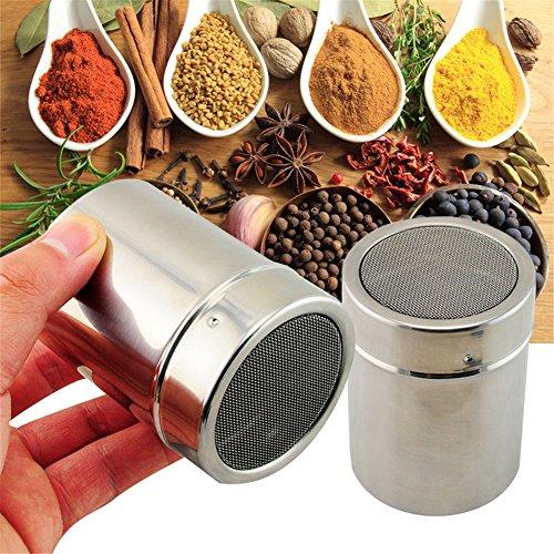 Interesting® Acier inoxydable chocolat Shaker farine sel poudre de cacao Sucre glace Cappuccino Café Sifter Couvercle