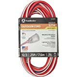 Southwire 2547SWUSA1 25-Feet, Contractor Grade, 12/3, Lighted End Red White and Blue, American Made Extension Cord, Indoor and Outdoor Use, Water Resistant Flexible Jacket, Foot (Color: red,white,blue, Tamaño: 25 ft)