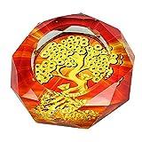 【Woliwowa】 まばゆい 金の なる 木 デザイン ガラス製 中国的 灰皿 [並行輸入品]