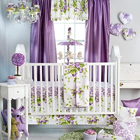 sweet violets 3 piece baby crib bedding set by glenna jean