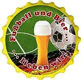 """Kapselheber / Flaschenöffner / Kühlschrankmagnet / Kronkorken - 3D-Aufkleber """"Fußball und Bier ..."""""""