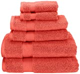 Superior Collection 6-Piece Zero Twist Cotton Super Soft and Absorbent Towel Set, Coral