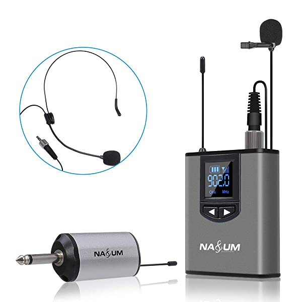 NASUM UHF Wireless Headset Microphone/Lavalier Lapel Mic with Bodypack Transmitter and Mini Rechargeable Receiver 1/4 Output, For Live Performances, Weddings, Training, Class, Speech, Meeting