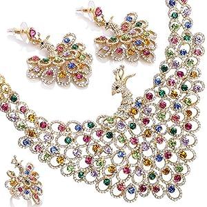 Multicolor Peacock style Wedding Jewellery Set, Necklace