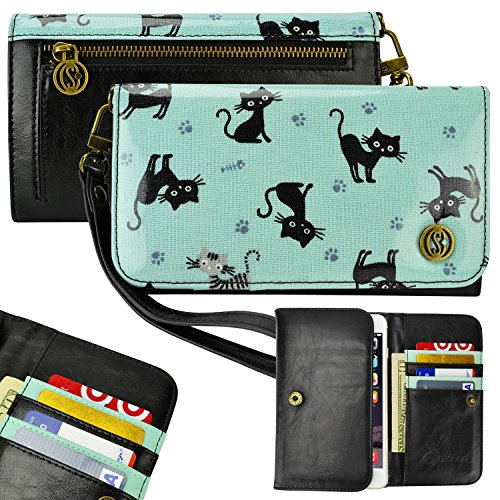 Smartphone Wallet, Smartphone Wristlet, caseen ® LINDA Clutch Purse Bag Pouch Smart Phone Case (Cat Kitten Paw Pattern Turquoise Teal / Black) for Apple iPhone 6 / 6 Plus, Samsung Galaxy S4 / S5 / S6 / S6 Edge / Note 4 / Edge / 3 / 2 / II, Google Nexu...