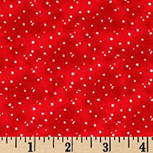 44'' Wide All Spruced Up Snow Dots Red Fabric By The Yard