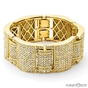 Ballin ICED OUT Yellow Gold Plated CZ Hip Hop Bracelet
