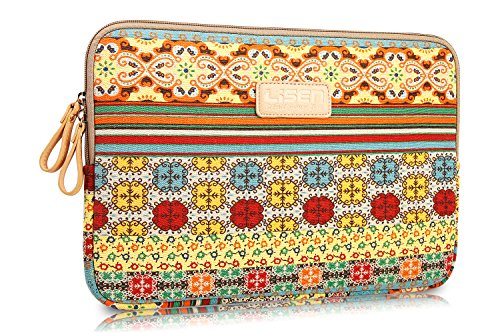 LISEN® Bohemian Style Canvas Fabric 15-15.6 Inch Laptop / Notebook Computer / MacBook / MacBook Pro / MacBook Air Sleeve Case Bag Cover + Neck Strap Lanyard +Stylus Pen + Cleaning Cloth