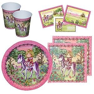 Partyset Prinzessin, 44-tlg., Kindergeburtstag mit 6 Mädchen; 6 Papp-Teller, 6 Papp-Bechern, 6 Einladungen mit Umschlag, 20 Servietten mit rosa Pferdemotiv Prinzessin auf Einhorn
