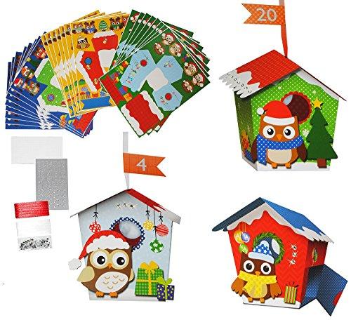 xl bastelset weihnachtskalender 24 vogelh user mit eulen eule zum aufh ngen hinstellen. Black Bedroom Furniture Sets. Home Design Ideas