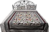 Exotic India Cream Bedspread from Pilkhuwa with Modern Print - Pure Cotton with Pillow Covers