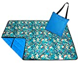 Roebury Picnic Blanket - Portable Outdoor Mat Folds into Tote Bag - Water-Resistant, Sandproof - Large Rug Perfect for Camping, Beach, Festivals, Kids & Babies (Blue Bell Flowers)