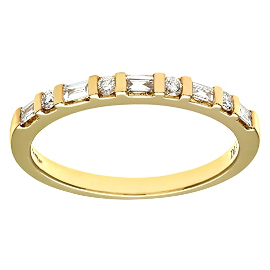 Naava 18ct Yellow Gold 0.25ct Baugette and Round Diamond Eternity Ring