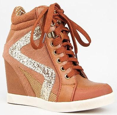 82bbc96e4ac3 Bamboo JODIE-01 Glitter Detailed Hidden Wedge Heel Lace Up High Top Wedge  Sneaker Shoe