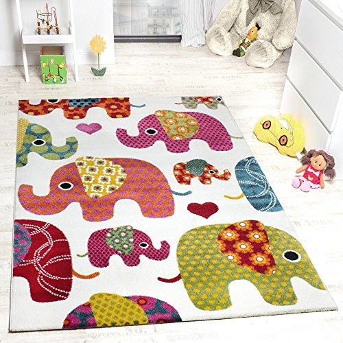 Moderner Kinderzimmer Teppich Bunte Elefanten Multicolour Creme Grau Fuchsia , Grösse:120x170 cm thumbnail