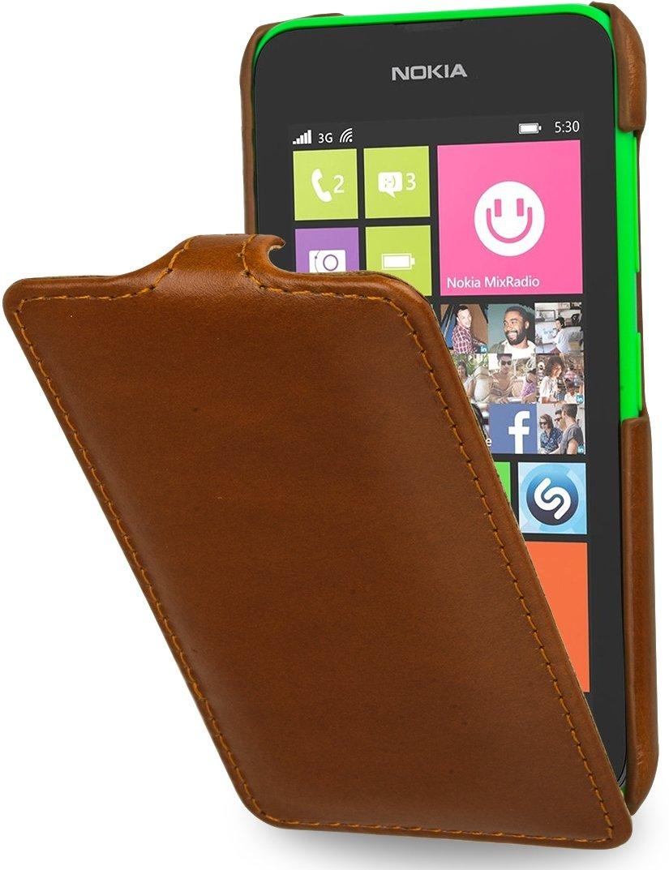 StilGut UltraSlim Case, Tasche aus Leder für Nokia Lumia 530, cognac