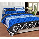 Soni Traders Blue Designer Pure Cotton Double Bedsheet With Pillow Cover- Bedsheet- 90 Inches X 90 Inches; Pillow...