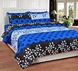 Soni Traders Blue Designer Pure Cotton Double Bedsheet With Pillow Cover- Bedsheet- 90 Inches X 90 Inches; Pillow Cover- 16 Inches X 27 Inches