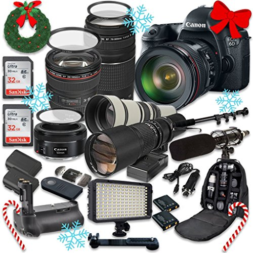 Canon EOS 6D 20.2 MP Full Frame CMOS Digital SLR DSLR Camera w/ EF 24-105mm f/4 L IS USM Lens + EF 75-300mm f/4-5.6 III Telephoto + 500mm f/8 Preset Lens + Holiday Accessory Bundle + More! (5d Mark Ii Rig compare prices)